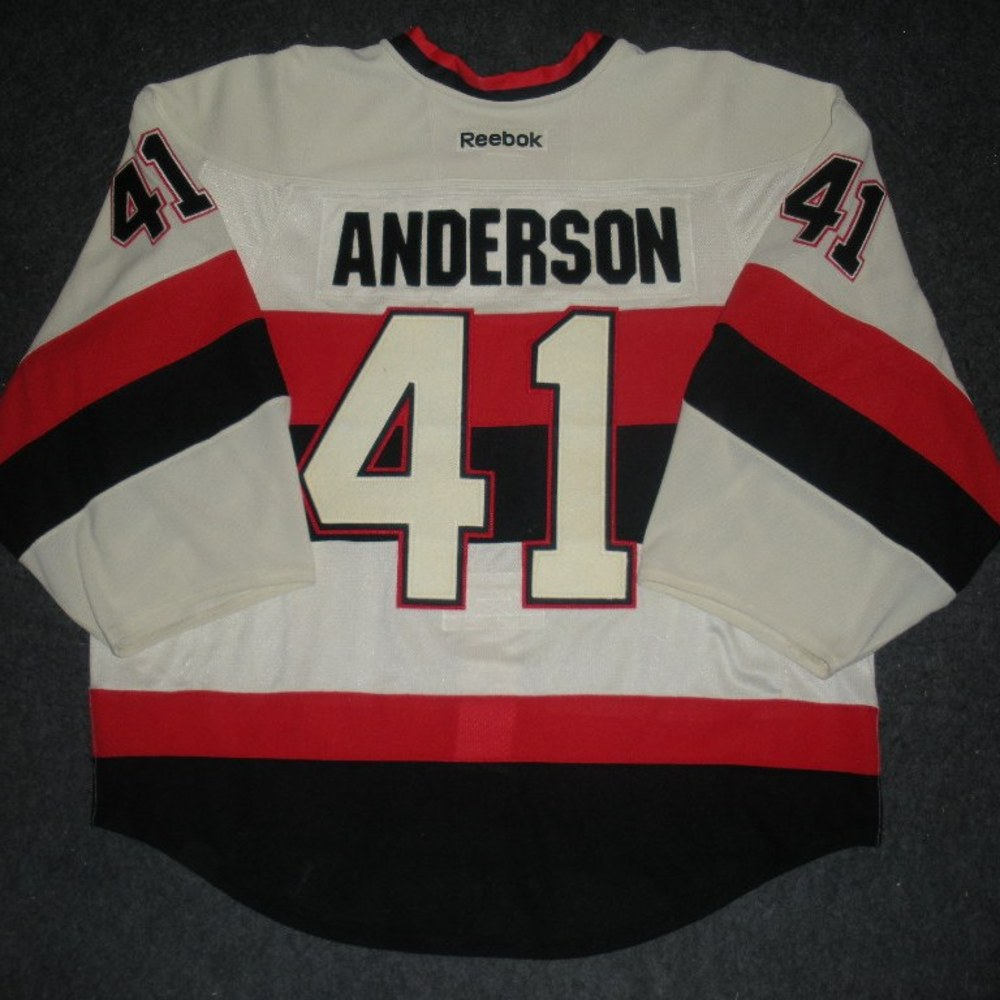 Craig Anderson - 2014 Heritage Classic - Ottawa Senators - Cream Game-Worn Jersey - Worn in First Period
