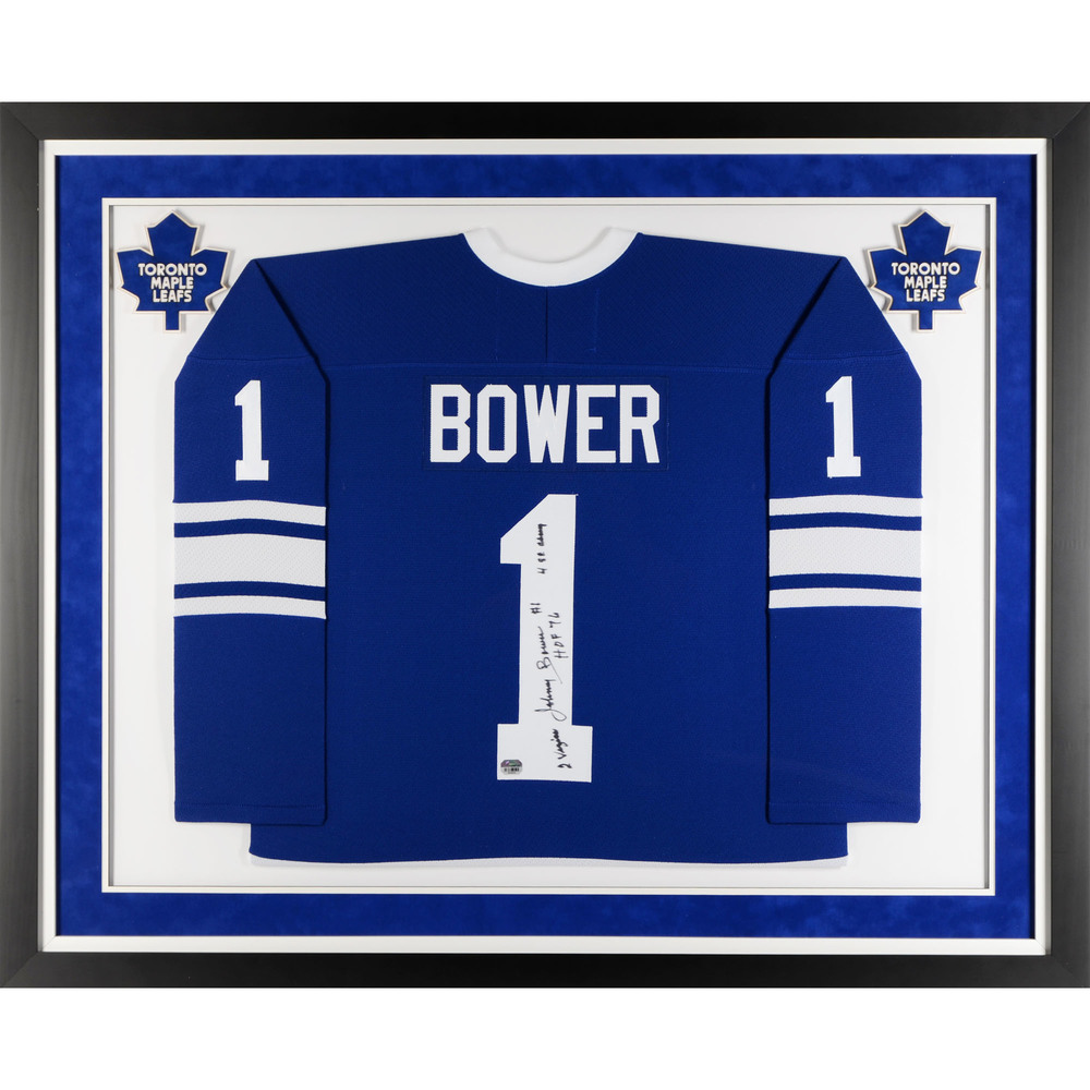 Johnny Bower Toronto Maple Leafs Deluxe Framed Autographed Blue CCM Jersey with Multiple Inscriptions