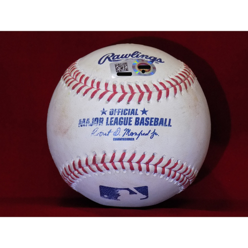 Photo of Game Used Baseball - Yu Darvish Strikes Out Yonder Alonso Swinging April 8, 2017