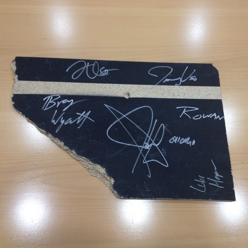 SIGNED Piece of broken table from Payback 2014 (Autographed by John Cena, Usos, Wyatt Family)