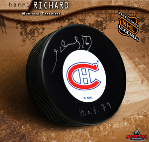 HENRI RICHARD Signed Montreal Canadiens Puck - HOF