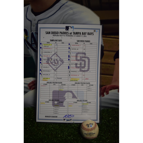 Photo of Game-Used Lineup Card and Baseball: Tampa Bay Rays vs San Diego Padres - August 17, 2016