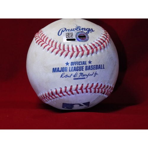 Photo of Game Used Baseball - Jed Lowrie Singles Off Yu Darvish April 8, 2017