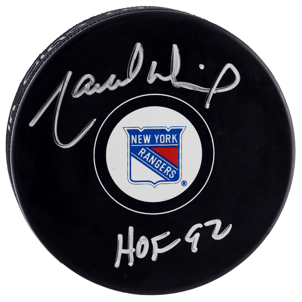 Marcel Dionne New York Rangers Autographed Hockey Puck with HOF 1992 Inscription
