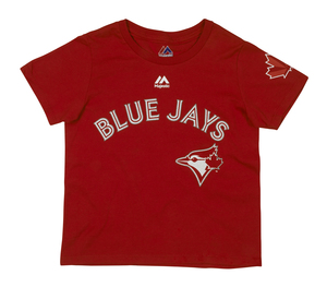 Toronto Blue Jays Toddler/Child Red Wordmark T-Shirt by Majestic