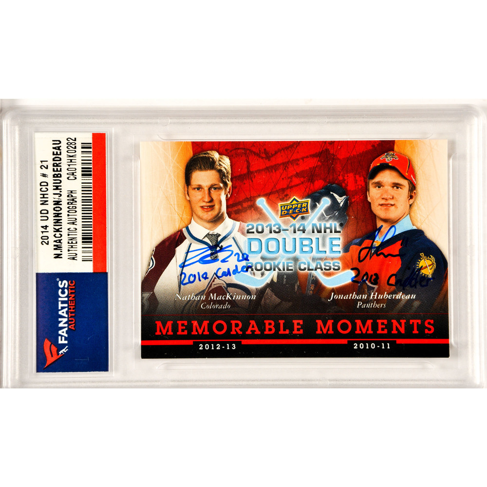 Nathan MacKinnon / Jonathan Huberdeau Colorado Avalanche / Florida Panthers Autographed Upper Deck National Hockey Card Day Memorable Moments #NHCD-21 Card with 2014 Calder & 2013 Calder Inscriptions