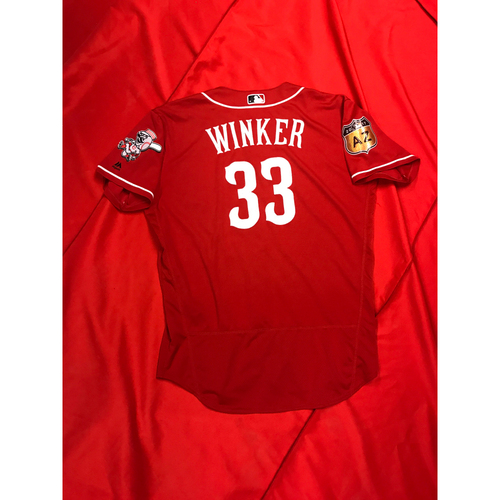 Photo of Jesse Winker -- Team-Issued Jersey -- 2017 Spring Training