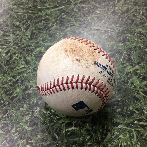Photo of Game-Used Baseball 09/02/17 WSH@MIL - Max Scherzer to Eric Thames: RBI Double