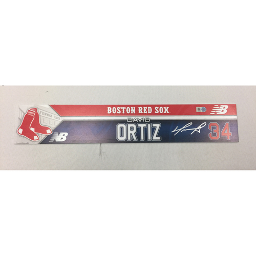 Photo of David Ortiz August 14, 2016 Autographed, Game-Used Locker Tag