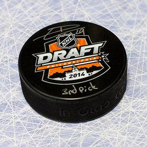 Leon Draisaitl 2014 NHL Draft Day Puck Autographed w/ 3rd Pick Inscription *Edmonton Oilers*