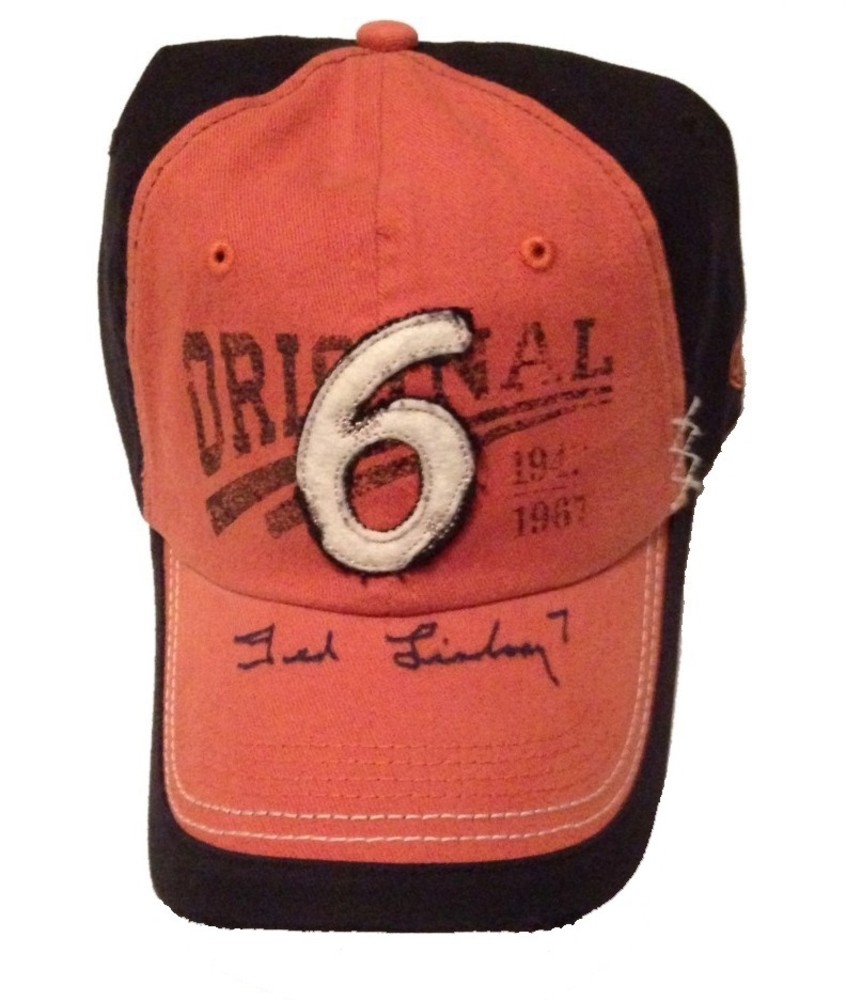 Ted Lindsay Autographed Old Time Hockey Original 6 Hat - Detroit Red Wings