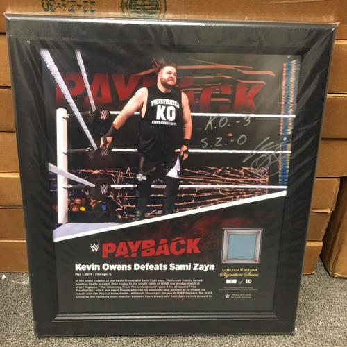 Photo of Kevin Owens SIGNED Payback 2016 15 x 17 Framed Ring Canvas Photo Collage