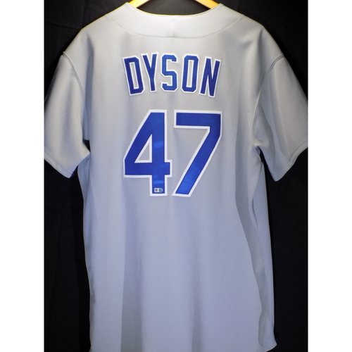 Photo of Game-Used Jersey - Sam Dyson 1986 Road Throwback 24th Save (2016)