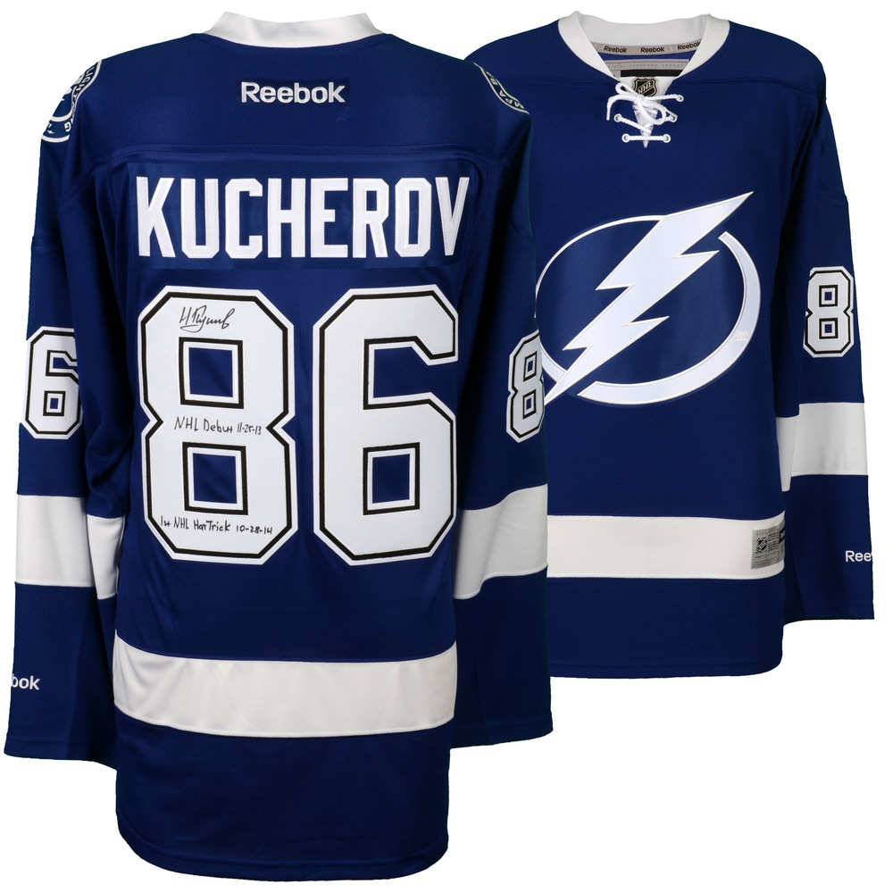 Nikita Kucherov Tampa Bay Lightning Autographed Blue Reebok Premier Jersey with Multiple Inscriptions - Limited Edition of 1