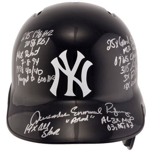 Photo of Alex Rodriguez New York Yankees Autographed Replica Batting Helmet with Career Stats Inscriptions. #1 In a Limited Edition of 13