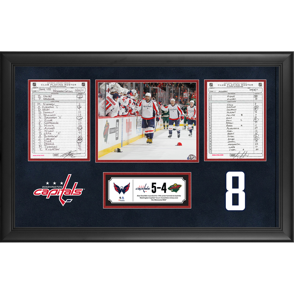 Washington Capitals Framed Original Line-Up Cards From March 28, 2017 vs. Minnesota Wild - Alex Ovechkin's 17th Career Hat Trick
