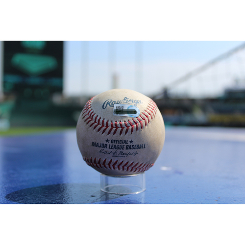 Photo of Game-Used Baseball: Ehire Adrianza 100th Career Hit (MIN at KC - 9/10/17)