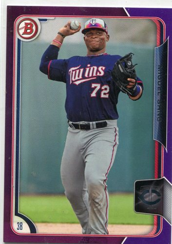 Photo of 2015 Bowman Prospects Purple #BP33 Miguel Sano 191/250 -- Twins post-season