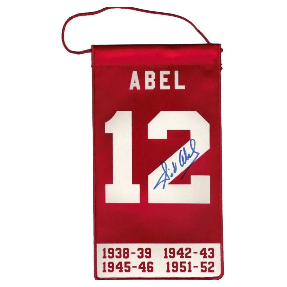 Sid Abel (deceased) Autographed Detroit Red Wings Mini Banner