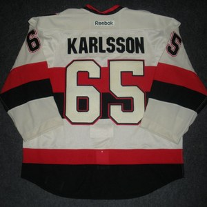 Erik Karlsson - 2014 Heritage Classic - Ottawa Senators - Cream Game-Worn Jersey - Worn in First Period