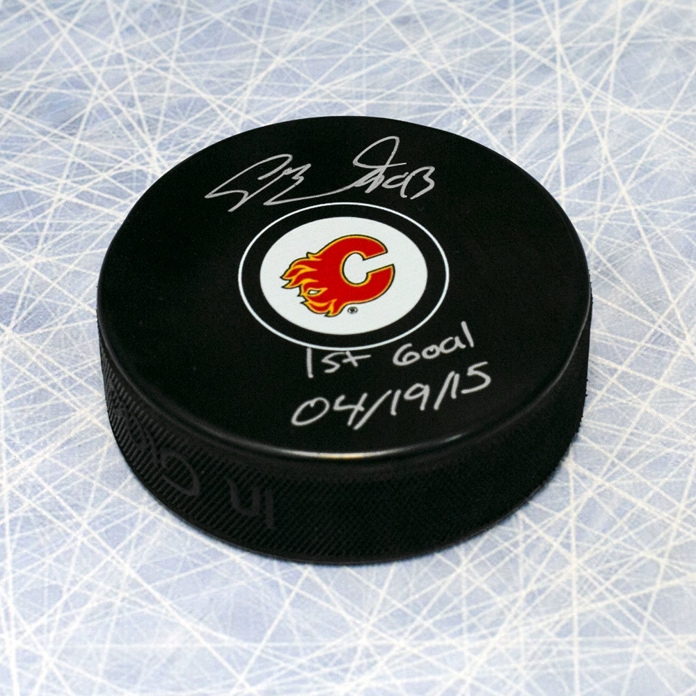 Sam Bennett Calgary Flames Autographed Hockey Puck with 1st Goal Inscription