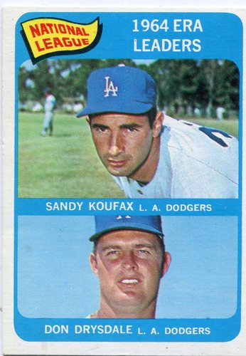 Photo of 1965 Topps #8 NL ERA Leaders/Sandy Koufax/Don Drysdale