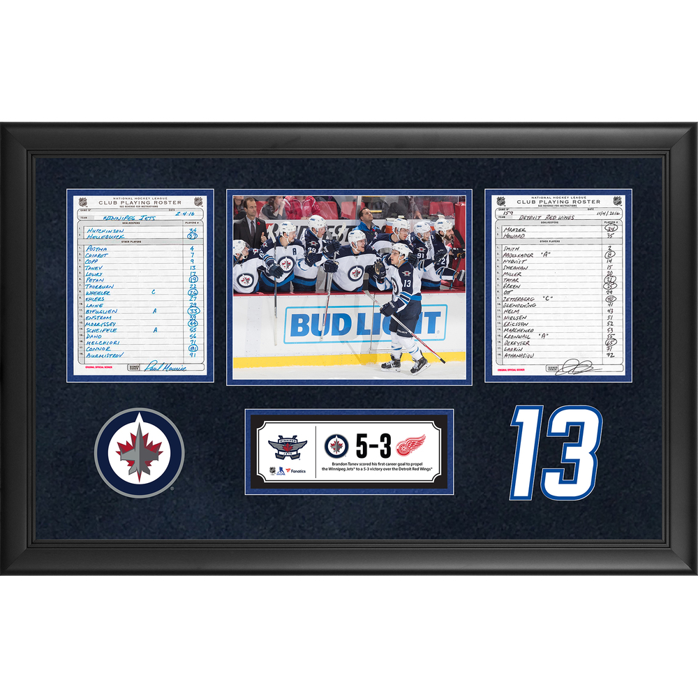 Winnipeg Jets Framed Original Line-Up Cards From November 4, 2016 vs. Detroit Red Wings - Brandon Tanev's First Career Goal