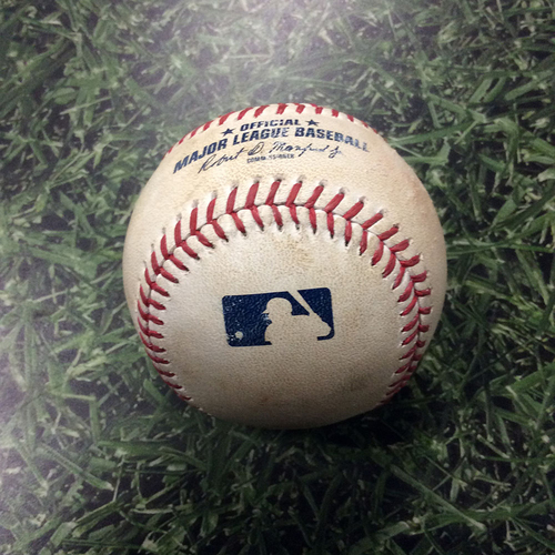 Photo of Game-Used Baseball 07/03/17 - BAL@MIL: Jared Hughes to Trey Mancini: Double