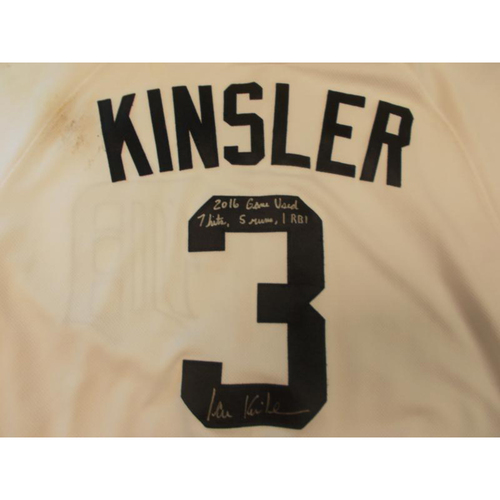 Photo of Autographed Game-Used Ian Kinsler Jersey: 7 Hits, 5 Runs & 1 RBI
