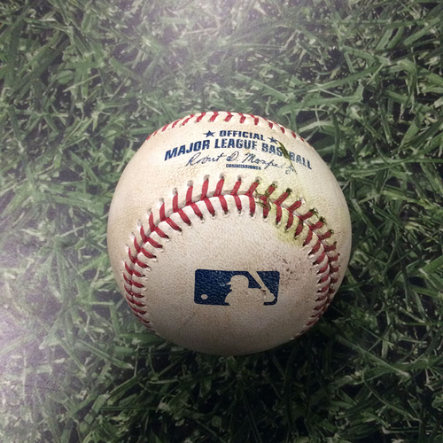Photo of Game-Used Baseball 07/01/17 - MIA@MIL: Zach Davies to Marcell Ozuna: RBI Single