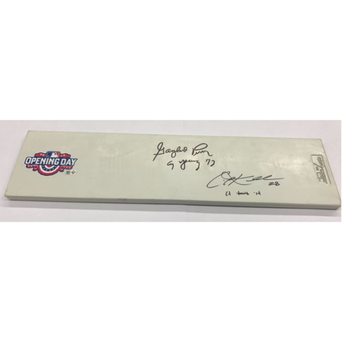 2015 Opening Day Ceremonial Pitching Rubber, Autographed by Cy Young Award Winners Gaylord Perry and Corey Kluber (Kluber autograph is not authenticated)