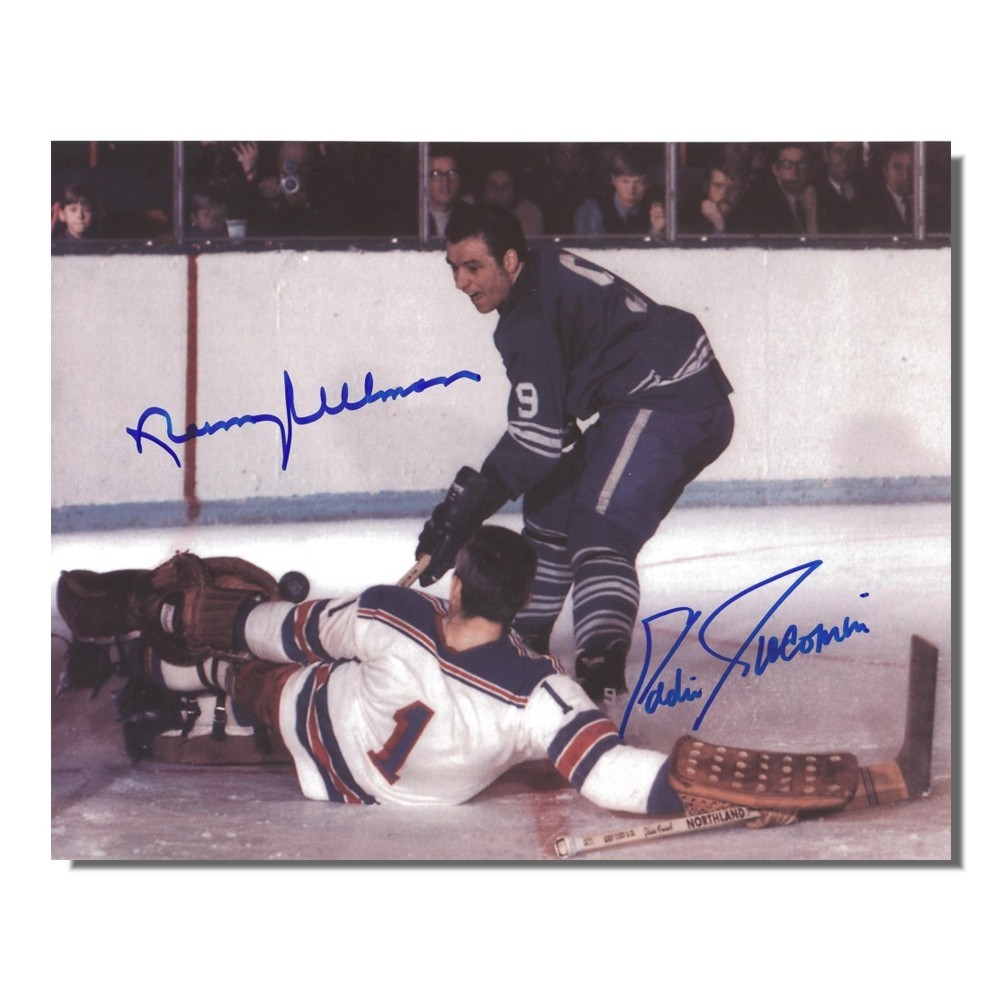 Eddie Giacomin (New York Rangers) and Norm Ullman (Toronto Maple Leafs) Autographed 8x10 Photo