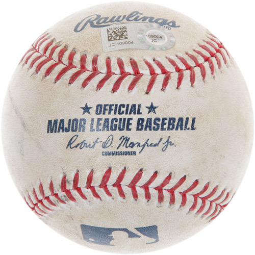 Photo of Game-Used Baseball from Andrew Benintendi's Major League Debut Game