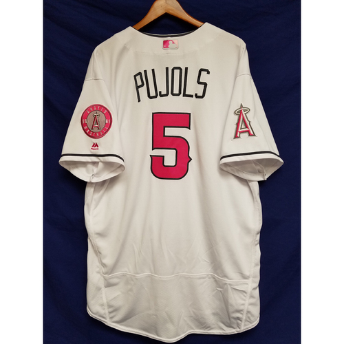 Photo of Albert Pujols Game-Used Pink Mothers Day Jersey - 5/13/17