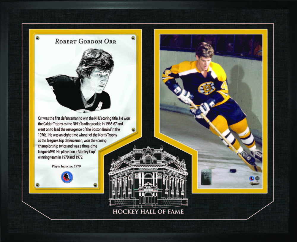 Bobby Orr - Framed HHOF Glass Boston Bruins
