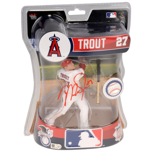 "Photo of Mike Trout Los Angeles Angels Autographed Imports Dragon 6"" Player Replica Figurine. Limited Edition of 1."