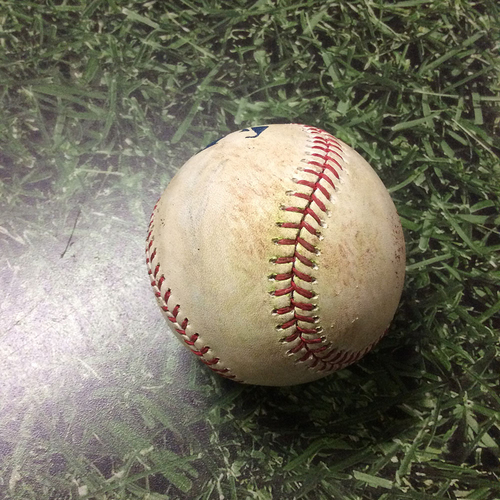 Photo of Game-Used Baseball 08/13/17 CIN@MIL - Sal Romano to Neil Walker: RBI Single (Brewers Debut Game)