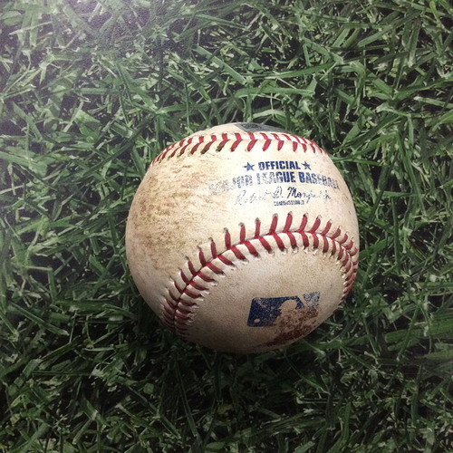 Photo of Game-Used Baseball 06/20/17 PIT@MIL - Edgar Santana to Keon Broxton: RBI Double