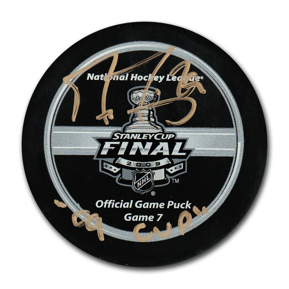 Marc-Andre Fleury (Pittsburgh Penguins) Autographed 2009 Stanley Cup Final Official Game Seven Puck w/09 CUP Inscription