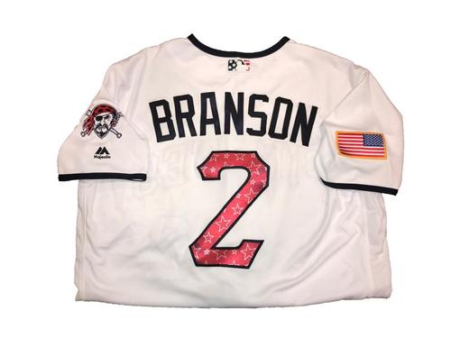Photo of Jeff Branson Game-Used Home White Stars and Stripes Jersey