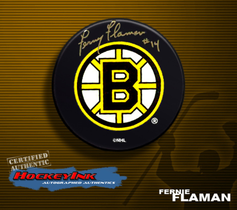 FERNIE FLAMAN Signed Boston Bruins Puck