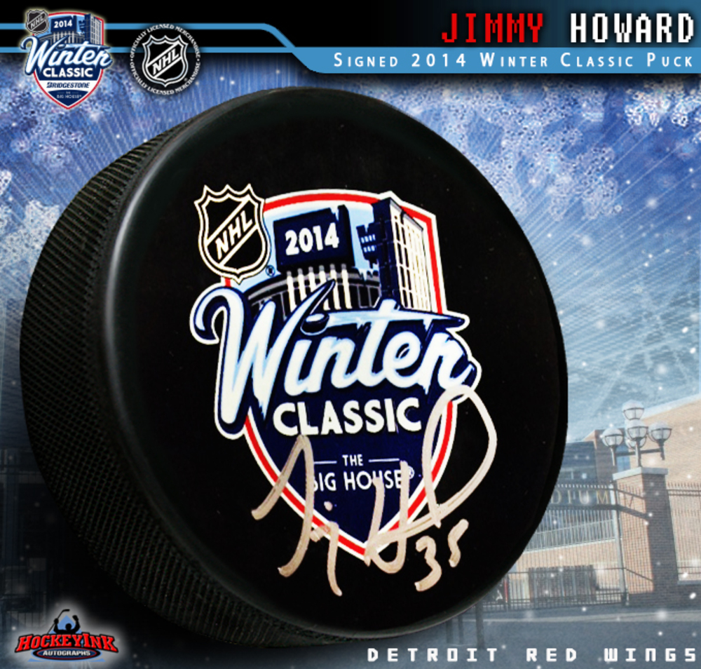 JIMMY HOWARD Signed 2014 NHL WINTER CLASSIC Souvenir Puck