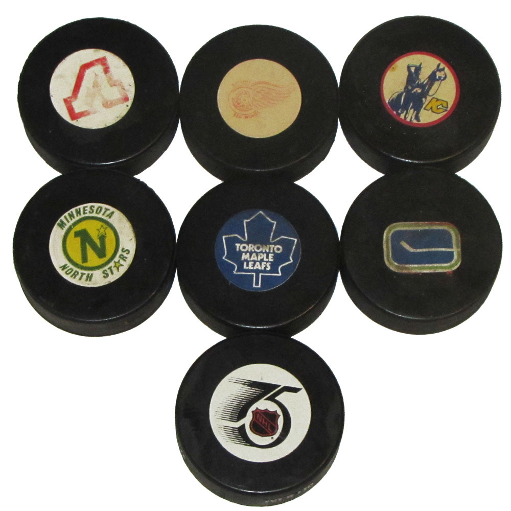 Lot of Seven Classic NHL Official Game Pucks - Converse, Viceroy & InGlasCo