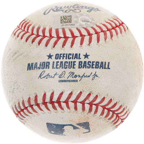 Photo of Game-Used Baseball from Jose Altuve's 1,000th Career Hit Game