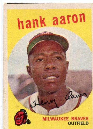 Photo of 1959 Topps #380 Hank Aaron -- Hall of Famer
