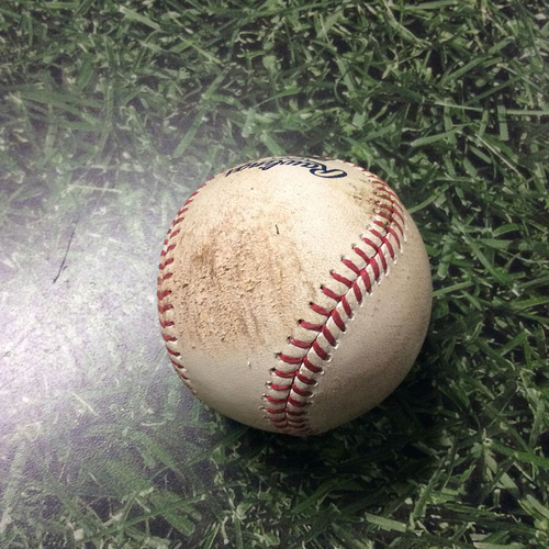 Photo of Game-Used Baseball 08/13/17 CIN@MIL - Sal Romano to Neil Walker: Strike 1 (First Pitch in Brewers Debut)