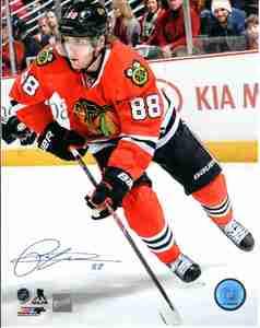 Parick Kane - Signed 8x10 Photo - Chicago Blackhawks Red Action