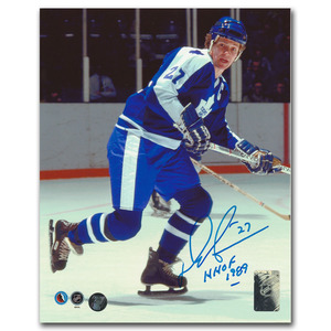 Darryl Sittler Autographed Toronto Maple Leafs 8X10 Photo w/HHOF 1989 Inscription