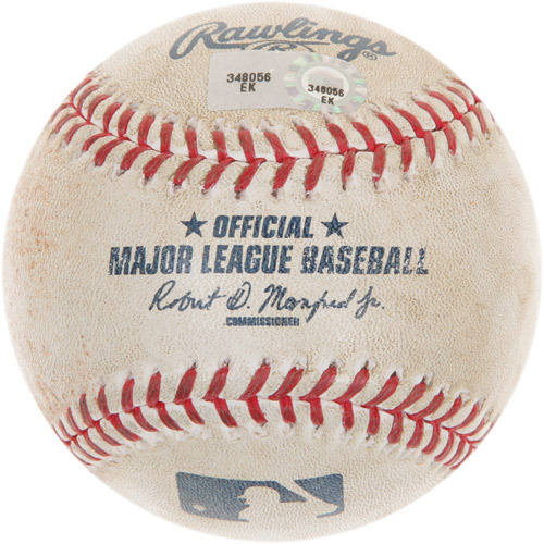 Photo of Game-Used Baseball from Manny Machado's 100th Career Homerun Game