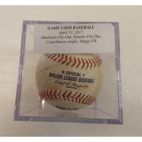 Game-Used Baseball: Cabrera Foul Ball, Castellanos Single, Kinsler Fly-Out and Machado Fly-Out
